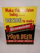 Rare 1950 Braumeister Beer Cardboard Sign14x10 Beautiful Condition