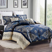 Hig 7 Pieces Blue Jacquard Luxury Style Comforter Set-queen King Size-22025