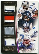 2015 Immaculate Walter Payton Emmitt Smith Barry Sanders Quad Patch Rare Sp /10