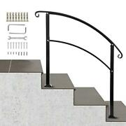 Wrought Iron Stair Handrail Fit For 1 Or 3 Step Hand Rails For Outdoor Steps