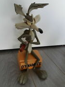 Extremely Rare Looney Tunes Wile E Coyote On Tnt Dynamite Big Figurine Statue