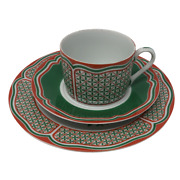 3 Pc Vintage Taste Setter Sigma Noel Teacup Saucer And Lunch Plate Christmas Holly