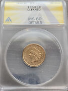 M14171- 1859 Indian Head Cent Anacs Ms60 Details