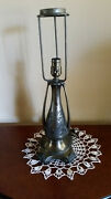 Antique Art Deco Lily Pad Lamp Base For Leaded Glass Shade Original