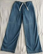 Vintage Gap Tack Fat Size 14 Blue Denim Drawstring Relaxed Fit Jeans Rare