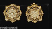 Old Miner Diamond Cut Clip Flower Star Ladies Earrings 14k Yellow Gold Vintage