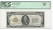 1928 💲100 Bill/note Gold Seal Pcgs 30