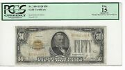 1928 💲50 Bill/note Gold Seal Plate F7/18 Pcgs 15
