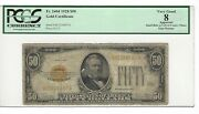 1928 💲50 Bill/note Gold Seal Plate C6/13 Pcgs 8