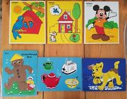 Vintage Sifo And Playskool Wooden Child Puzzle Lot 6 Puzzles Mickey Mouse