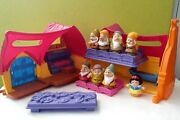Fisher Price Little People Snow White's Cottage With 7 Seven Dwarfs - Complete