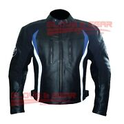 Bmw 3876 Blue Black Tailored Made Motorbike Riding Cowhide Leather Jacket