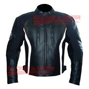 Bmw 3876 Black And Brown Tailored Made Motorbike Riding Cowhide Leather Jacket