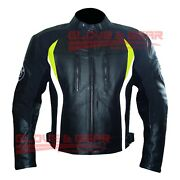 Bmw 3876 Black Tailored Made Motorcycle Motorbike Riding Cowhide Leather Jacket