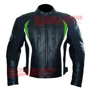 Bmw 3876 Black And Green Tailored Made Motorbike Riding Cowhide Leather Jacket