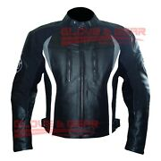 Bmw 3876 Black And Grey Tailored Made Motorbike Riding Cowhide Leather Jacket