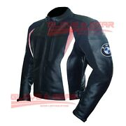 Bmw 3876 Black And Pink Tailored Made Motorbike Riding Cowhide Leather Jacket