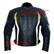 Bmw 3876 Black And Yellow Tailored Made Motorbike Riding Cowhide Leather Jacket