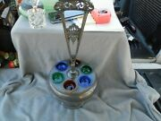 Antique/vintage Silverplate Condiment Stand And Colored Cups Estate Find