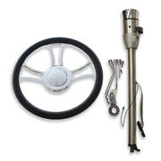 32 Auto Ss Steering Column And Adapter And 14 Chrome Wheel And Flame Horn Button