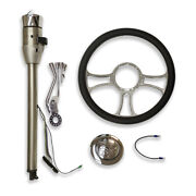 30 Auto Stainless Steering Column Gm And 14 Chrome Steering Wheel And Horn Button
