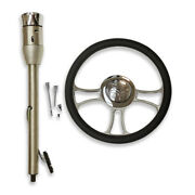 28 Manual Stainless Steering Column And 14 Chrome Steering Wheel And Horn Button