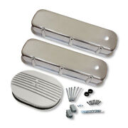 For 1965-1995 Bbc Smooth Top Tall Valve Covers And 12 Half Finned Air Cleaner Kit