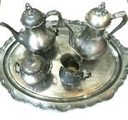 Provincial Reed And Barton 7040 Silver Plate Tea Coffee Set With Tray