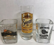 3 Shot Glasses 2 Square Are Oregon And Hogs Breath Saloon Tall Round Tequilla