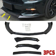 Fit 15 -17 Ford Mustang Glossy Black Cs Style 3 Pcs Front Bumper Lip Kit Spoiler