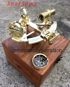 Nautical Shiny Brass Sextant 5 With Wooden Box Marine Handmade Compass Gift