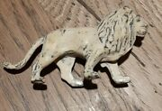 Vintage Hollow Cast Zoo Lion Made In France Lead Toy Figurine - White