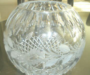 Stunning Large Vintage Bohemian Czech Cut To Clear Crystal Bowl,basket, Mint