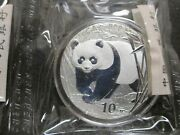 2002 China Panda 1 Oz .999 Fine Silver Coin Sealed Plastic With Capsule