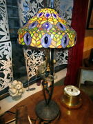Very Rare Style Stained Glass Table Lamp With Chameleon Hunting Lady Bug