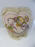 Vintage Embroidered Boudoir Pillow Cover Lovely Lady