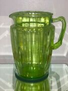 Vintage Anchor Hocking Green Depression Glass Water Pitcher With Panel Design