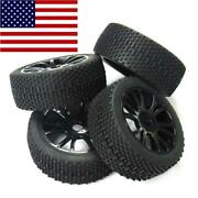 4pcs 17mm Hub Wheel Rim And Tires Tyre For 1/8 Off-road Rc Car Buggy Traxxas Hsp