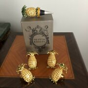Olivia Riegel Gold/crystal Pineapple Set Of 4 Napkin Holders And Wine Stopper