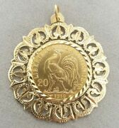 22ct 1910 French 20 Franc Rooster Coin In 9ct Gold Ornate Frame Preloved