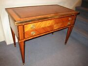 Vtg Italian Import- Fr. Regency End Table- Rosewood Parquetry /leather Top- Fine