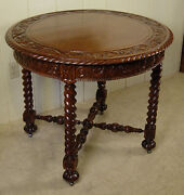 Antique Oak 36 Round Lamp Table With Carved Top And Apron