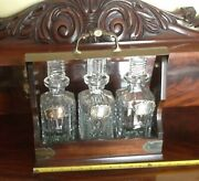Antique Triple Inlaid Wood Carrier And Cut Glass Bottles Liquor Decanter Tantalus