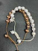 2 Real Pearl Bracelets Cord Brown Silver Adjustable Costume Jewellery