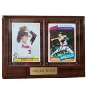 Nolan Ryan 1979 And 1980 Topps Baseball Card 115 And 580 Mounted On Wooden Plaque.