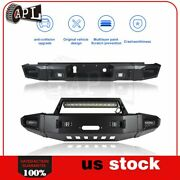 Bulkier Black Front Rear Bumper Guard W/ Leds And Winch Plate For Chevy Silverado