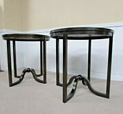 Baker Furniture Pair Round End Tables Contemporary Accent Tables. 30 X 29