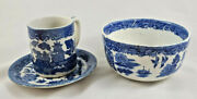 Vintage Blue Willow Cup/saucer - Made In Japanand Royal Venton Ware Burslem Bowl
