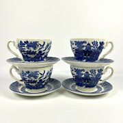 Set Of 4 Blue Willow Cups And Saucers By Crown Clarence Made In England Euc