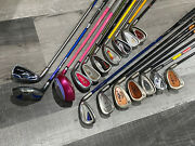 Lot 17 Junior Golf Clubs Right And Left Handed Irons Woods Uskg Nike Ping Barbie